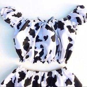 Cow Print lolita peasant off shoulder top